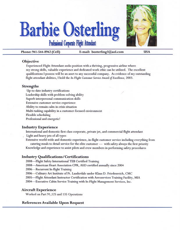 pics photos flight attendant resume
